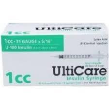 "UltiGuard U-100 Insulin Syringes 31 Gauge, 1cc, 5/16""- 100ct"