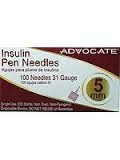 "Advocate Pen Needles 31 Gauge, 5cc, 3/16""- 100ct"