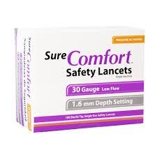 SureComfort Safety Lancets 30G, 1.6mm- 100ct