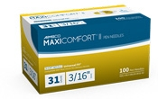 "AIMSCO Maxi-Comfort II Pen Needles, 31 Gauge, 3/16""- 100ct"