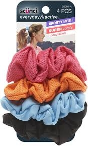 Scünci Sporty Mesh Super Comfort Ponytailers, 4ct- 3 Packs  ** Extended Lead Time **
