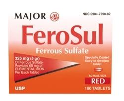 Major Ferosul Red Tabs Ferrous Sulfate 325mg 100 Tablets
