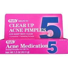 Rugby Acne Medication Benzoyl Peroxide Gel USP 5% - 1.5oz