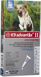 Advantix II K-9  (For Extra Large Dogs, Over 55 lbs) - 4 Pack (Blue)