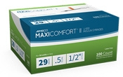 "AIMSCO MaxiComfort Insulin Syringe 29 Gauge, 1/2cc, 1/2""Needle - 100 Count"