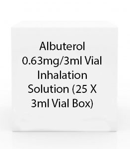 Albuterol 0.63mg/3ml Vial Inhalation Solution (25 X 3ml Vial Box)