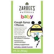 ZarBee's Naturals Baby Cough Syrup + Mucus Reducer, Grape- 2oz