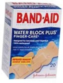 Band-Aid Bandages Finger Care Water Block Plus Assorted Sizes - 20