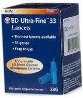BD Ultrafine 33 Gauge Lancets 100/Box