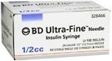 "BD Ultrafine Insulin Syringe 30 Gauge, 1/2cc,  1/2"" Needle - 100 Count"