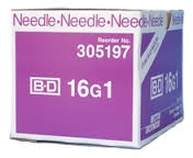 "BD Precision Glide Needle Only 16 Gauge 1""- 100ct Box"