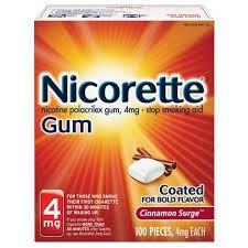 Nicorette Gum, 4mg, Cinnamon Surge- 100ct