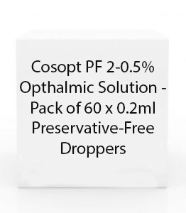 Cosopt 2-0.5%/ Preservative Free Ophthalmic Solution - Pack of 60 x 0.2ml Preservative-Free Droppers