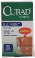 Curad Flex-Fabric Sterile Assorted Adhesive Bandages 100ct