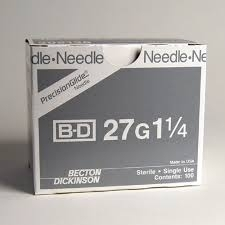 "BD Precision Glide Needle Only 27 Gauge 1 1/4""- 100ct Box"