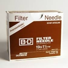 "BD Nokor Filter Needle 19 Gauge, 1.5"" - 100ct Box"