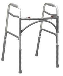 Essential Deep Frame Two Button Bariatric Folding Walker- Steel Gray