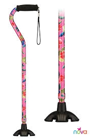 NOVA Medical Products Offset Handle Sugar Cane, Pink Garden