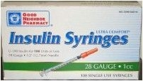 "Good Neighbor Pharmacy Insulin Syringe, 28 Gauge, 1cc, 1/2"" Needle  - 100 Count"