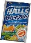 Halls Breezers Pectin Throat Drops Tropical Chill 25 Drops