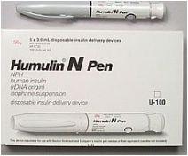 Humulin N Insulin 100 U/ml, 3ml Disposable Pen - Box of 5 Pens