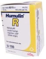 Humulin R, 100 units/mL - 10 mL Vial