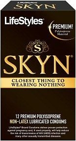 LifeStyles SKYN Premium Polyisoprene Non-Latex Lubricated Condoms - Box of 12