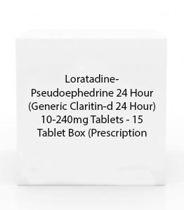 Loratadine-Pseudoephedrine 24 Hour (Generic Claritin-d 24 Hour) 10-240mg Tablets - 15 Tablet Box (Prescription Only)