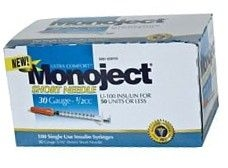 "Monoject UltraComfort Insulin Syringe 30 Gauge, 1/2cc, 5/16"" Needle - 100 Count"