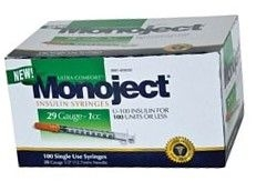 "Monoject Ultrafine Insulin Syringe, 29 Gauge, 1cc, 1/2""  Needle - 100 Count"
