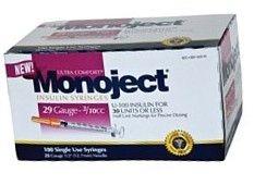 Monoject Ultrafine U-100 Insulin Syr 29 Gauge 3/10cc 1/2 inch Needle 100/Box***Mfg. Discontinued**