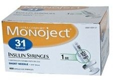 Monoject Ultrafine U-100 Insulin Syr 31 Gauge 1cc 5/16 inch Needle 100/Box
