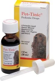 Pet-Tinic Pediatric Drops, Vitamin-Mineral Supplement for Dogs & Cats- 1oz