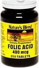Natures Blend Folic Acid 400 mcg Tablets 250ct