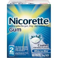 Nicorette Nicotine Gum 2mg White Ice Mint - 100ct