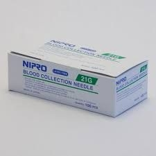 "Nipro Blood Collection Needle 21 Gauge, 1 1/2"", 100 Count"
