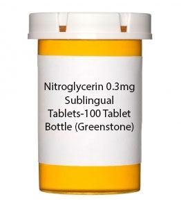 Nitroglycerin 0.3mg Sublingual Tablets-100 Tablet Bottle (Greenstone)