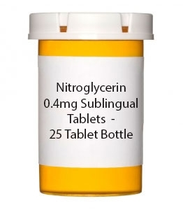 Nitroglycerin 0.4mg Sublingual Tablets  - 25 Tablet Bottle