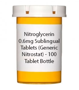 Nitroglycerin 0.6mg Sublingual Tablets (Generic Nitrostat) - 100 Tablet Bottle