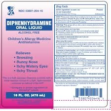 Allergy Diphenyhdramine Oral Liquid- 4oz