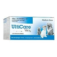 "UltiGuard U-40 Pet Insulin Syringe 29 Gauge, 3/10cc, 1/2'""- 100ct"