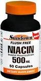 Sundown Niacin 500 mg Capsules Flush Free  50ct