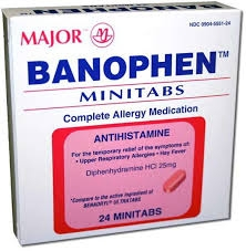 Banophen Antihistamine Tablets, 25mg- 24ct (Major)