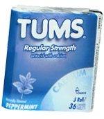 Tums Tablet Rolls 3 Packs per Sleeve (Peppermint)  - 36 Rolls