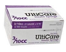 "UltiCare Insulin Syringe, 31 Gauge, 3/10cc, 5/16""  Needle - 100 Count"