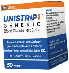 Unistrip Generic Diabetic Test Strips - 50 Strips (For use with One Touch Ultra Meters)