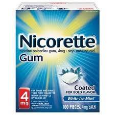 Nicorette Gum, 4mg, White Ice- 100ct