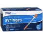 "TRUEplus Insulin Syringes 29 Gauge, .5cc, 1/2"" Needle- 100ct"