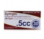 "Advocate Insulin Syringe 30 Gauge, .5cc, 5/16"" Needle- 100ct"