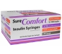 """SureComfort Insulin Syringe 29 Gauge, 3/10cc, 1/2"""" Needle - 100 Count"""